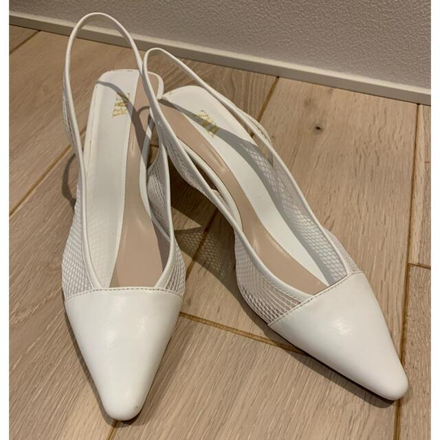 ZARA(ザラ)のZARA ホワイトメッシュパンプス レディースの靴/シューズ(ハイヒール/パンプス)の商品写真