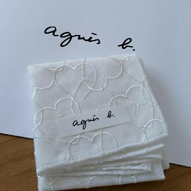 agnes b.(アニエスベー)の新品 アニエスベー ミニ ハンカチ ホワイト ハート レディースのファッション小物(ハンカチ)の商品写真
