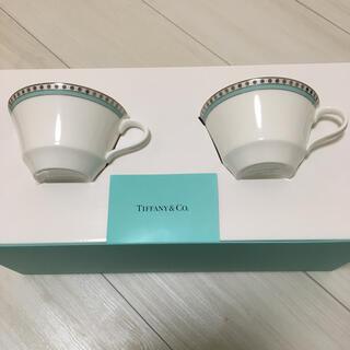 ティファニー(Tiffany & Co.)のティファニー カップ ペアカップ プラチナ ブルー バンド カップアンドソーサー(グラス/カップ)