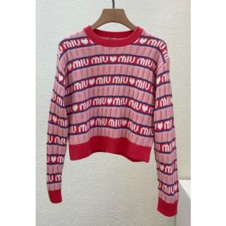 miumiu - MiuMiu ウール ストライプ セーター ピンク