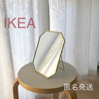 イケア(IKEA)の【新品】イケア IKEA ミラー ゴールドカラー(25×20cm)☆(卓上ミラー)
