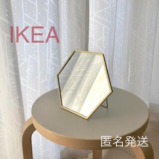 イケア(IKEA)の【新品】IKEA ミラー ゴールドカラー(17×20cm)☆(卓上ミラー)