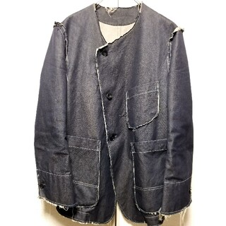 Yohji Yamamoto - sulvam  ノーカラーカットオフデニムジャケット