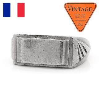 フランスヴィンテージ ハンドメイド シンプル シグネットリング 17号シルバー色(リング(指輪))