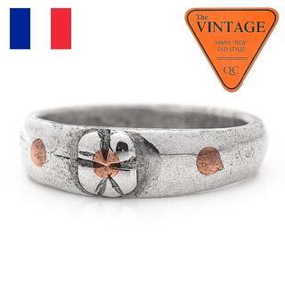 アンティーク フランス ミリタリー 四つ葉クローバー 指輪12.5号ハンドメイド(リング(指輪))