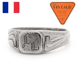 フランスアンティーク ミリタリー アールデコ イニシャル シグネットリング15号(リング(指輪))