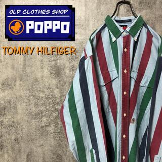 TOMMY HILFIGER - トミーヒルフィガー☆オールド刺繍ロゴシャンブレーマルチストライプシャツ