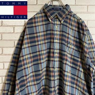 TOMMY HILFIGER - 90s 古着 トミーヒルフィガー チェックシャツ 刺繍  ゆるだぼ