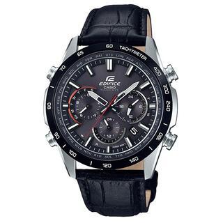 カシオ(CASIO)のカシオ EDIFICE 本革バンド 電波ソーラーモデル 腕時計 ブラック(腕時計(アナログ))