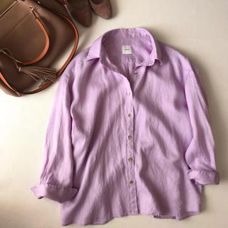 Spick and Span - スピックアンドスパン アサビッグシャツ 紫 金ボタン パープル リネン 麻 春