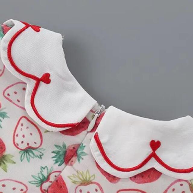 大人気 イチゴ柄 ワンピース 100cm キッズ/ベビー/マタニティのキッズ服女の子用(90cm~)(ワンピース)の商品写真