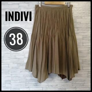 INDIVI - 【INDIVI】アシンメトリープリーツスカート