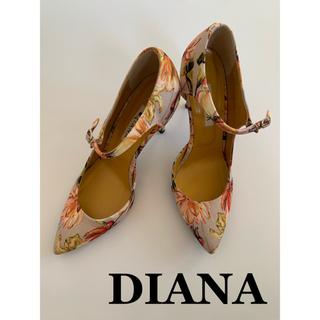 DIANA - ダイアナ 花柄 ストラップ ポインテッドトゥ 美品 ハイヒール