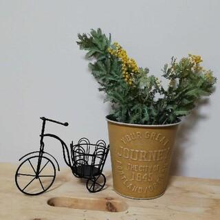 ミモザのミニ花束 自転車 ブリキ(ドライフラワー)