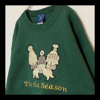 ヘインズ(Hanes)の90s Vintage / 古着女子 刺繍 スウェット トレーナー グリーン 緑(スウェット)