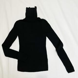 UNIQLO - ユニクロ ウール100%タートルネックセーター リヴニット黒#S