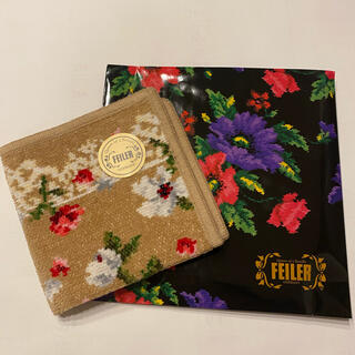 FEILER - FEILER*フラワーハンカチ ライトブラウン