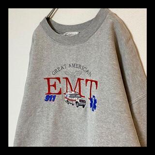 ヘインズ(Hanes)の90s USA製 EMT / 救急車 刺繍 スウェット トレーナー グレー(スウェット)