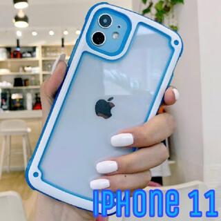 週末SALE!! シンプル フレーム iPhone11 ネオンブルー