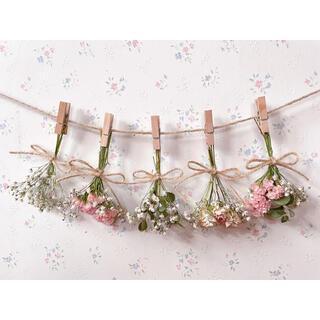 バラとかすみ草とユーカリの淡いサーモンピンクのドライフラワーガーランド♡ブーケ(ドライフラワー)
