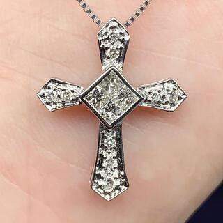 ダイヤモンド  クロスペンダント k18 WG ダイヤモンドネックレス