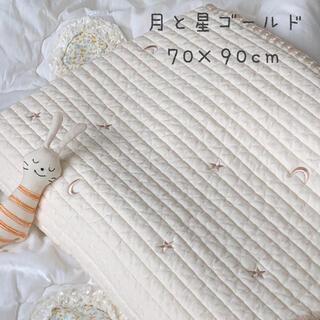月と星ゴールド刺繍ベビー韓国イブル キルティングマット お昼寝ラグ 70×90