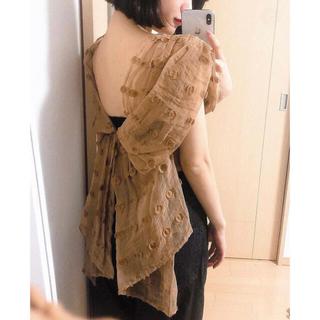 マメ(mame)のmame kurogouchi ノースリーブフィルクーペトップ ネイビー(シャツ/ブラウス(半袖/袖なし))