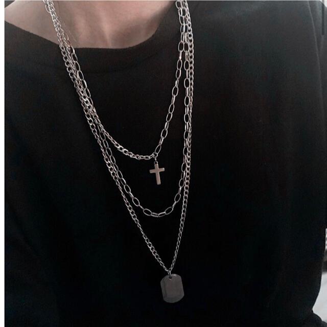 3連 ネックレス  十字架 ドックタグ プレートクロス 黒 ゴシック 韓国 メンズのアクセサリー(ネックレス)の商品写真