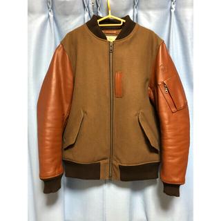 アヴィレックス(AVIREX)のアヴィレックス MA-1 ブルゾン ジャケット 袖革 ブラウン XL(レザージャケット)