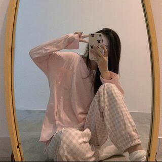 パジャマ ルームウェア セットアップ長袖 ピンク ロンT オーバーサイズ 春