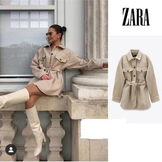 ZARA - ZARA ベルト付シャツジャケット