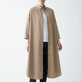 MUJI (無印良品) - 新品】無印良品インド綿高密度織りシャツワンピース/ONE SIZE/モカブラウン