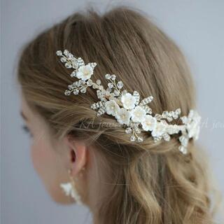 新品☆ブライダル ヘッドドレス ゴールド 花コーム ウェディング 結婚式 髪飾り
