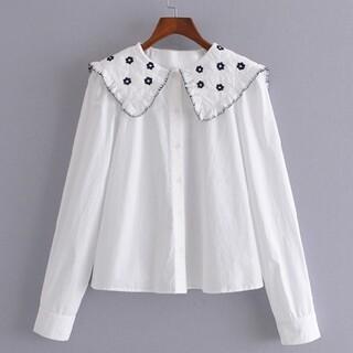 ZARA - 花刺繍 セーラー襟 シャツ ブラウス