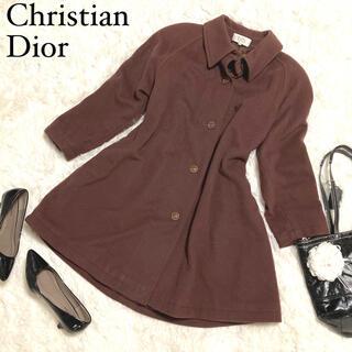 Christian Dior - ミスディオール ロングコート  XL相当 大きいサイズ カシミヤ混 ブラウン