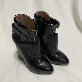 プロエンザスクーラー(Proenza Schouler)のイタリア製PROENZA SCHOULERショートブーツ黒36.5ウェッジソール(ブーツ)