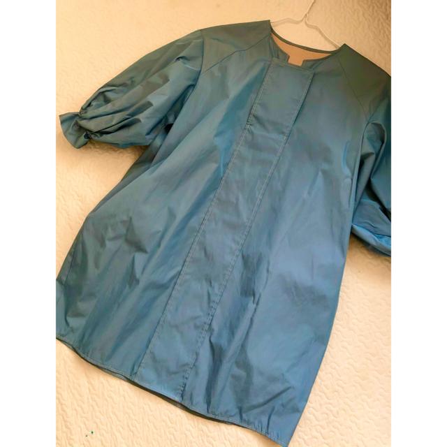 シャルマンとファム オーバーショルダーブラウス ブルー レディースのトップス(シャツ/ブラウス(長袖/七分))の商品写真