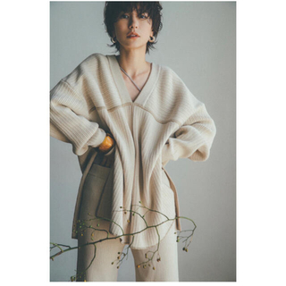 STUDIOUS - クラネ CLANE  DOUBLE FACE LINE KNIT   アイボリー