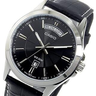 カシオ(CASIO)のカシオ メンズ 腕時計アナログ日付 ブラック レザー シルバー 新品未使用(腕時計(アナログ))