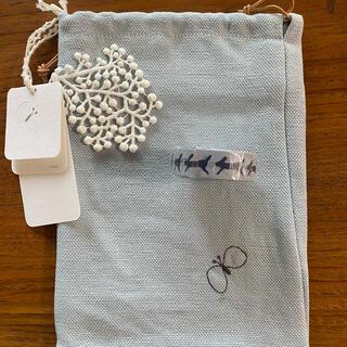 ミナペルホネン(mina perhonen)のミナペルホネン  巾着ポーチ&マスキングテープ 新品未使用タグ付き(ポーチ)
