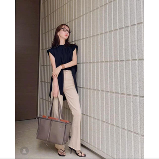 louren soft tie blouse black ノースリーブブラウス