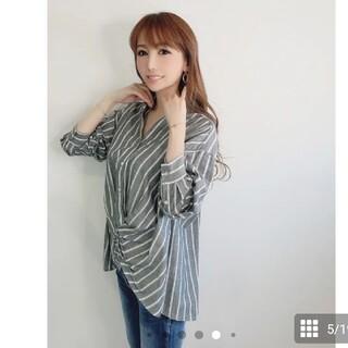 モエリー(MOERY)のモコアズ 新作☆ mocoa's ストライプデザインシャツ  (シャツ/ブラウス(半袖/袖なし))