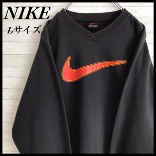 NIKE - 【激レア】ナイキ☆ビックロゴ スウェット 90s ゆるダボ ブラック色 古着