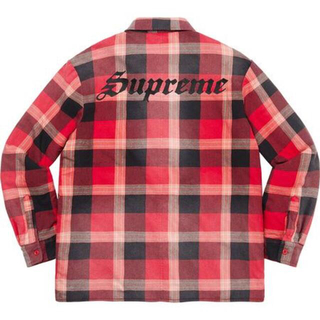 Supreme - Mサイズ Supreme Quilted Flannel Shirt レッド