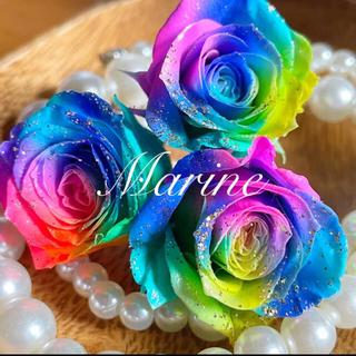 薔薇 ローズ 琉球カラー 3輪 ラメ付き ハーバリウム花材(プリザーブドフラワー)