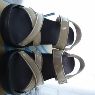 リゲッタカヌー(Regetta Canoe)のリゲッタサンダル未使用アウトレット品(7cmヒール)Lベージュ(ハイヒール/パンプス)