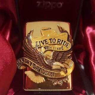 ハーレーダビッドソン(Harley Davidson)のハーレーダビッドソン アーマーZippo  ハーレー グッズ ゴールドライター(タバコグッズ)