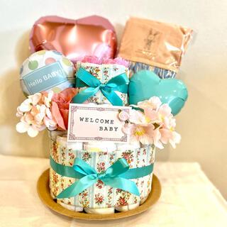 おむつケーキ 出産祝い オムツケーキ カットソー ベビー服 女の子 ギフト(ベビー紙おむつ)