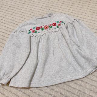 西松屋 - 西松屋 ❤︎ お花 刺繍 裏起毛 オーバーサイズ トレーナー 120cm
