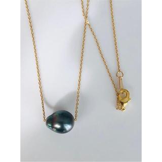 黒蝶真珠 バロックパールのスルーネックレス タヒチパール 南洋真珠